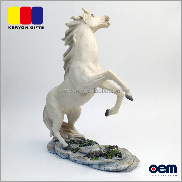 Life Size Resin Animal Horses Statue White Chinese Horse Sculpture