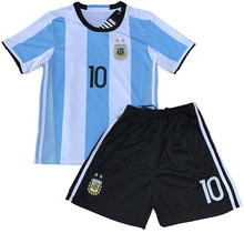 Blue and White Stripe Design Messi Jersey 2018 World Cup Qualifiers Argentina Youth Soccer Jersey