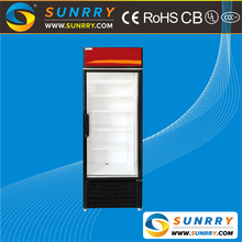 Commercial supermarket upright clear glass door beverage display cooler and refrigeration display cabinet