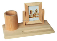 wooden students desk supplies pen holder&photo frame integration