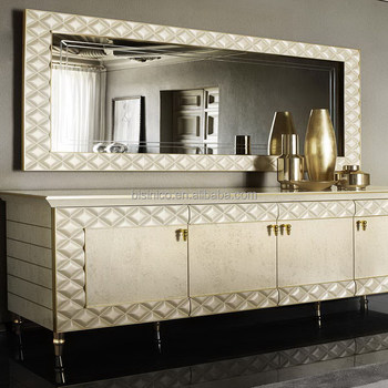Modern Style Wooden Lacquered Living Room Buffet, Luxurious Rectangle Special Mirror