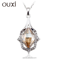 OUXI simple style crystal new zircon flower pendant necklace 11009