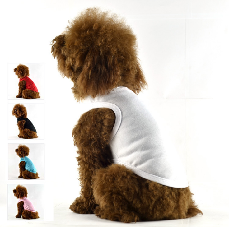 Blank pet dog clothes sleeveless dogs dresses and pure color pet dog T-shirts