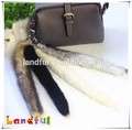 High Quality White Raccoon Fur Tail Car Mirror Trousers Charm Real Fur Tails