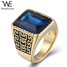 Stainless Steel Gothic Vintage Great Wall Celtic Pattern Finger Rings for Men Jewelry
