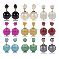factory wholesale hot sale double sided ball imitation pearl stud earring