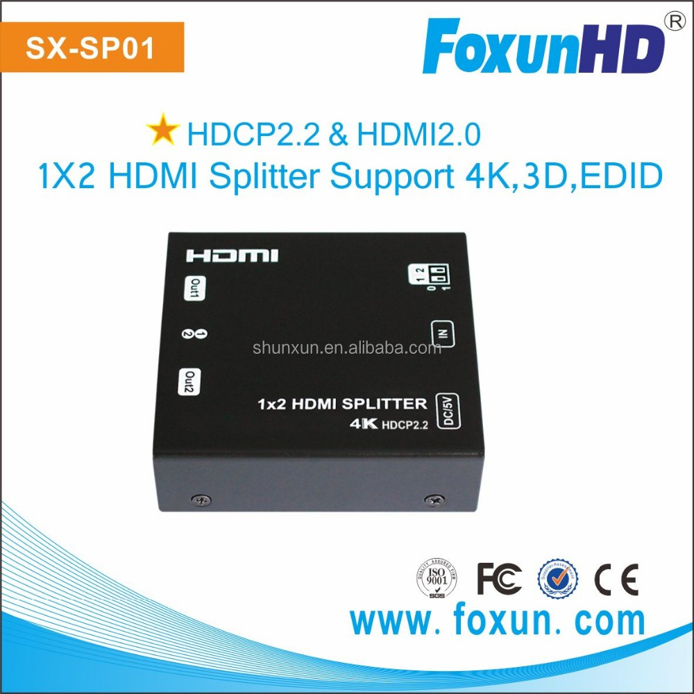 SX-SP01 HDMI 2.0 Splitter with HDCP 2.2 in to 1.4 out support 4K HDMI 2 way