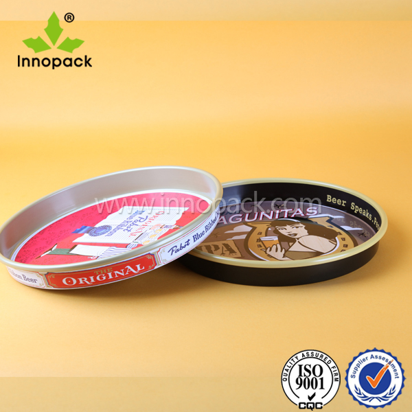 printed metal stainless steel round bar serving tray