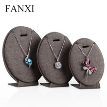FANXI High Quality Coffee Linen Oval Shape Jewelery Display Stand Set Pendant Exhibitor Shop Organizer Necklace Display Shelf