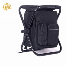 Folding Cooler and Stool Backpack - Multifunction Collapsible Camping Seat and Insulated Ice Bag with Padded Shoulder Strap