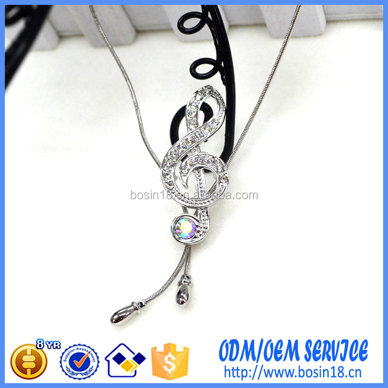 Elegant Silver Music Note Pendant Necklace #17345-