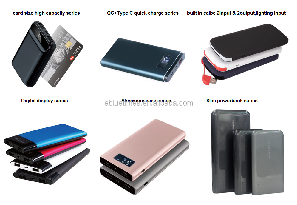 Fast charging power bank 10000mAh with USB Type-C + QC3.0 and LCD display
