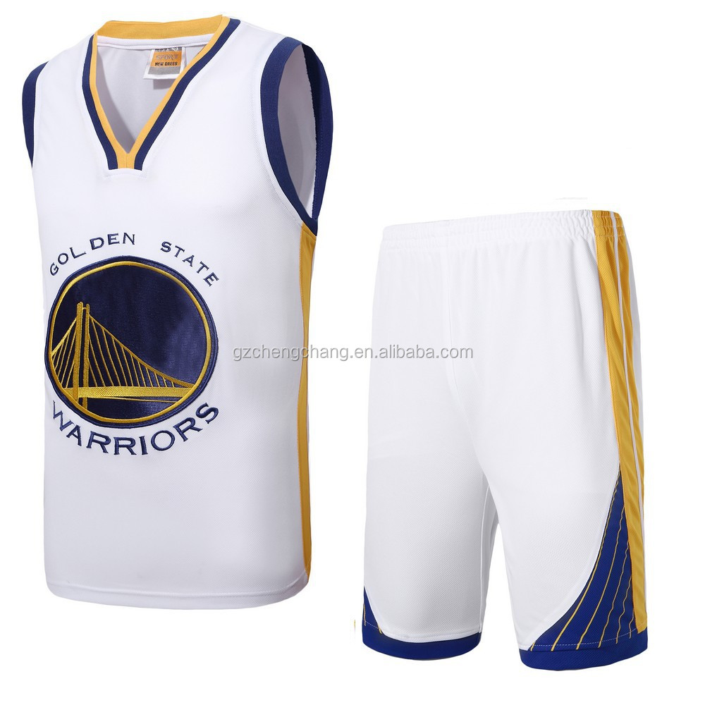 2017 wholesale men's golden state worrior embroidery basketball jersey uniform design customized