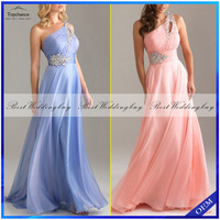 Real Picture One Shoulder Floor-Length Beaded Chiffon Long Evening Dresses SD006