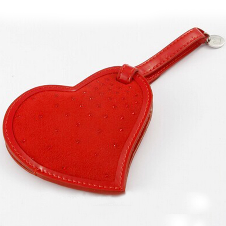 Promotional Stitching Red Color Heart Shape PU leather luggage tag