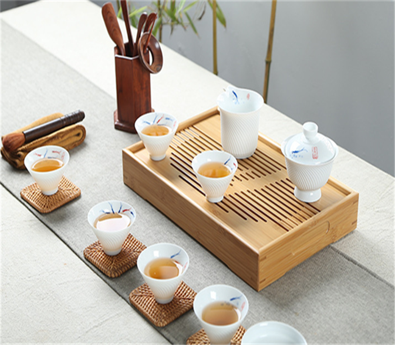 Portable natural bamboo Chinese gongfu tea set tray for Wholesale
