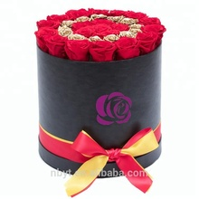 wholesale custom luxury round cylinder black paper cardboard flower box with lid