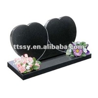 double heart granite headstone