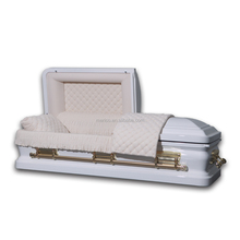 HAMPTON WHITE 18 ga metal coffin & casket