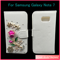 [Soar]Luxury Bling Bling Diamond Flower Design Magnetic Flip Leather Wallet Case For Samsung Galaxy Note 7