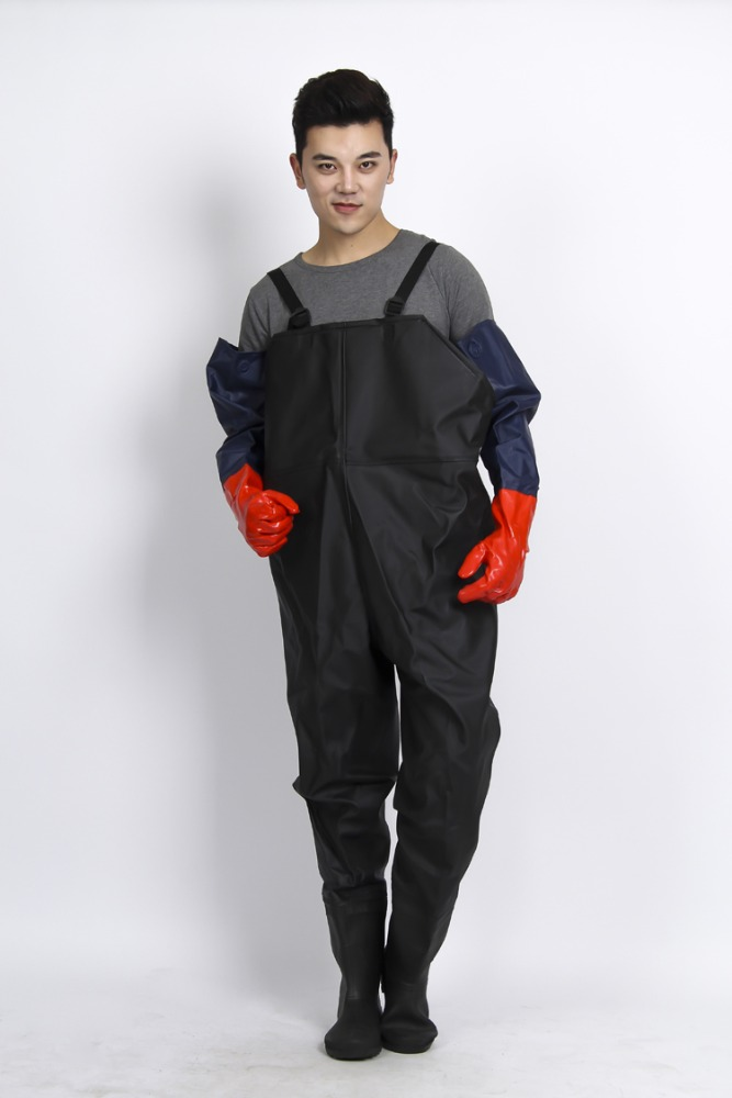 Rain coat and pant set raincoat adult rubber wader pants with shoes