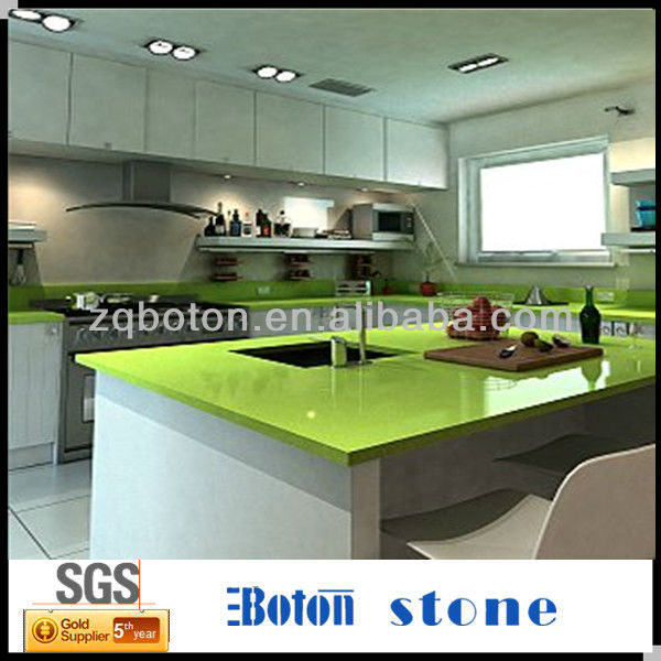 green artificial quartz stone kitchen countertop - buy high