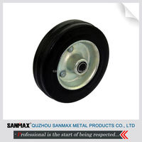 High quality 4 inch black iron hub and rubber tread caster wheel solo wheel 2-XZ-4