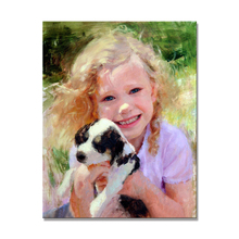 Wholesale Handmade Beautiful Girls And Animal Painting