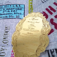 Gold Mirror Glass Wedding Invitation Card