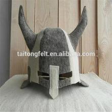 wool sauna hats with horns fasion design 100% wool felt sauna hats sauna hats with horns