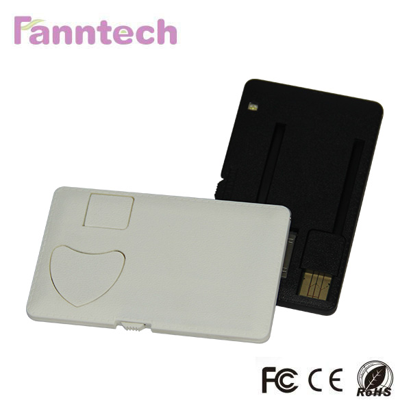Ultra Slim Credit Card Power Bank with Micro USB/30PIN/9PIN Connectors and TF Reader