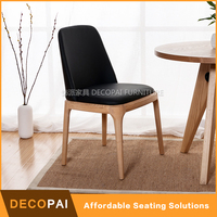 Soft seat wood dinning PU seat armless chair