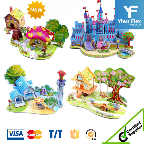 Hot selling 3D DIY Puzzle Jigsaw Baby toy Kid Early learning Castle Construction pattern gift For Children Houses Puzzle
