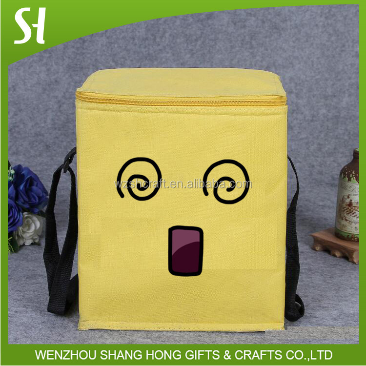 handmade insulated cooler bag/yellow picnic cooler bag/hot sales tote bag custom printing