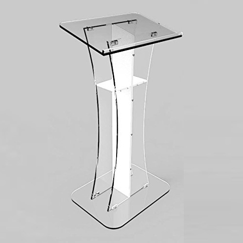Factory Custom Designs Best Sell Easy Assembly white Cross Required Clear Acrylic Lectern Used Acrylic Podium