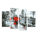 4 Pieces Snow Scenery Winter Landscape Oil Painting Fine Art Printing Lovers Holding Red Umbrella Wall Art Decor/SJMT1946