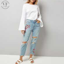 bulk wholesale factory custom Pale Blue Floral Embroidered Ripped women Jeans pants