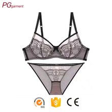 2017 hot sale mature breathable push up lace mesh panties sexy lady girl sexy bra panty set