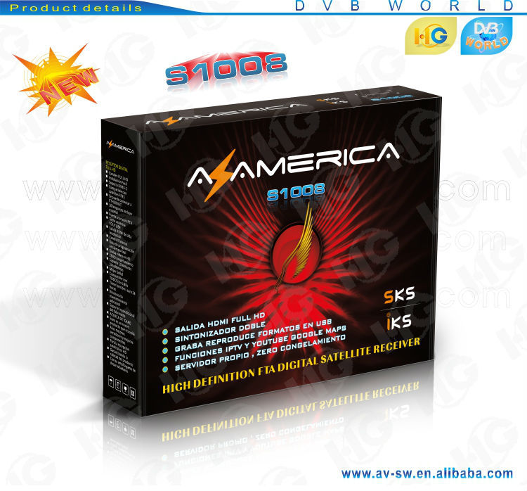 Original azamerica s1008 decoder fta tv satellite hd iptv/iks sks free freesky for south america