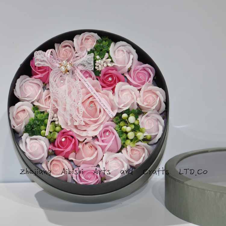 Korea Style best gift tin box of artificial rose soap flower for weddings party Christmas Valentine's Day