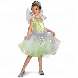 fashion girls tinkerbell rainbow green costume kids fancy dress for girl