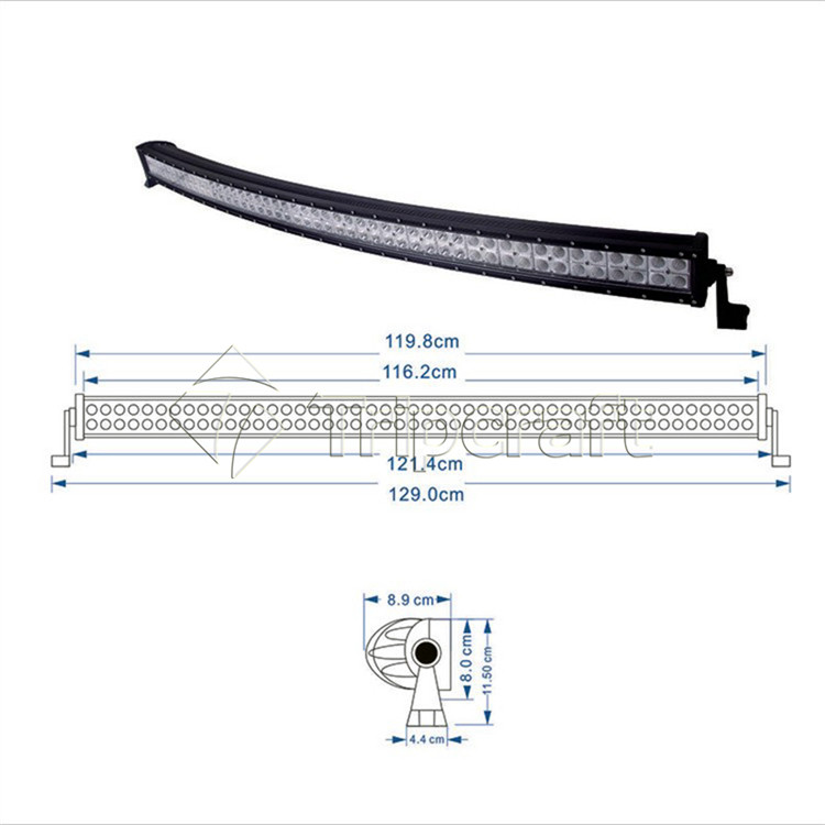 "50 inch 4x4 Crees Led Auto Light 288w 50"" curved Led Light bar with CE RoHS IP67 waterproof"