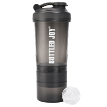 Bottled Joy <strong>100</strong>% BPA-free Gym Protein Shaker with 3 Layers Twist n' Lock Storage