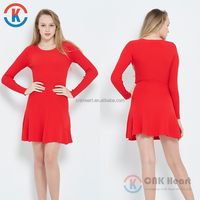 2017 new design long sleeve ladies clothes fashion casual red wholesale dress