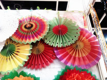 Handmade wall hanging tissue paper flowers paper honeycomb wedding stage backdrop decoration paper fan pinwheel