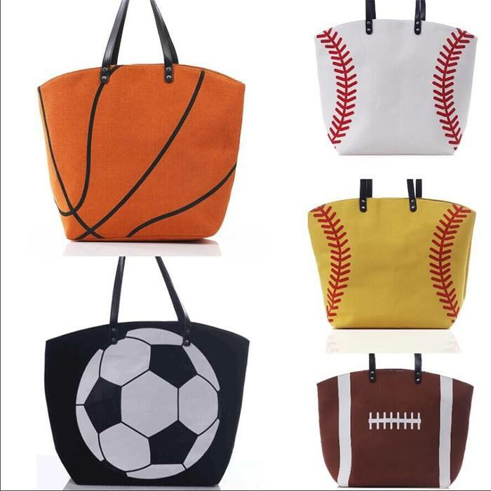 2017 Wholesale Sports Bag Football Tote Bags with PU faux Canvas Tote Bag Leather Handle