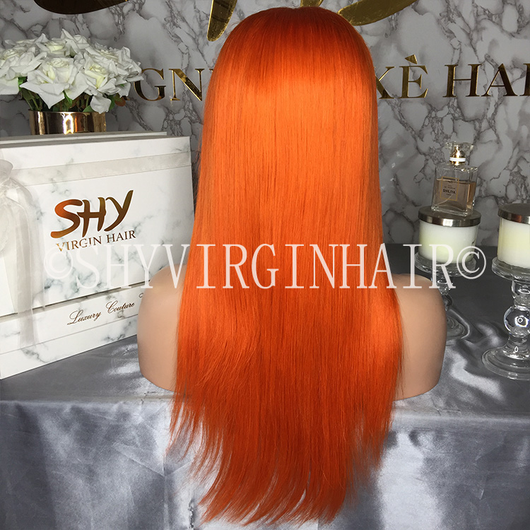 Gorgeous Orange Low Density Small Head Frontal Wigs With Baby Hair
