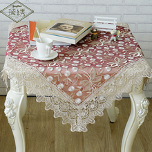 Luxury Lace Embroidery Fabric Dandelion Flower Designs Burgundy Tablecloth
