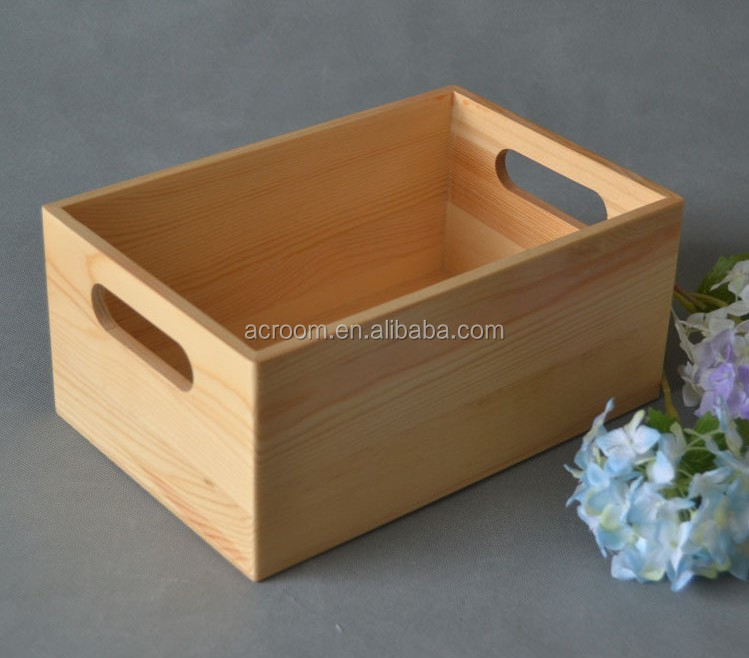 Chinese custom wooden boxes wholesale new products pine wood price rectangular with handle for storage