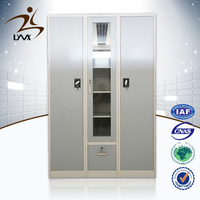 Customized 3 door KD steel furniture different colour steel clothes almirah design / iron almirah